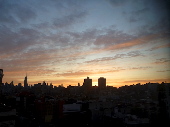 NYC skyline at dawn.