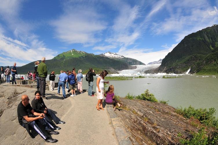 Sunny skies at the glacier.
