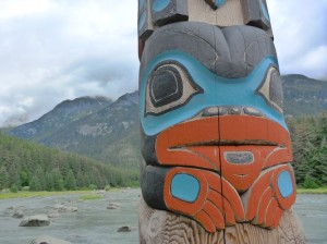 Chilkoot river totem pole.