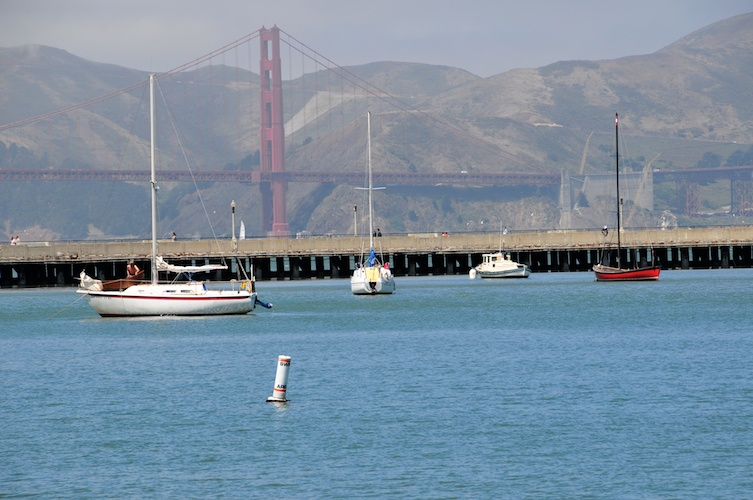 Boats and the Golden Gate bridge.