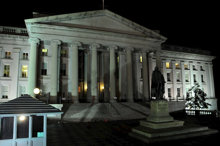 The US Treasury building.